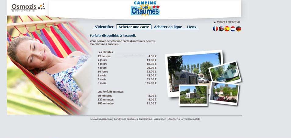 tarifs wifi du camping les Chaumes St jean de Monts